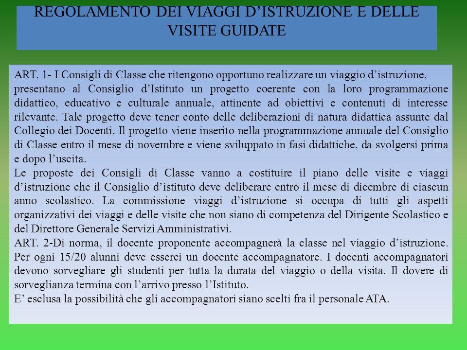 REGOLAMENTO DEI VIAGGI D'ISTRUZIONE E DELLE VISITE GUIDATE