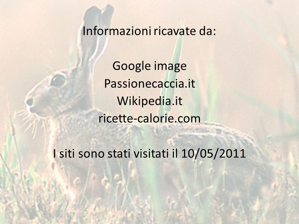 Informazioni ricavate da: Google image Passionecaccia. it Wikipedia