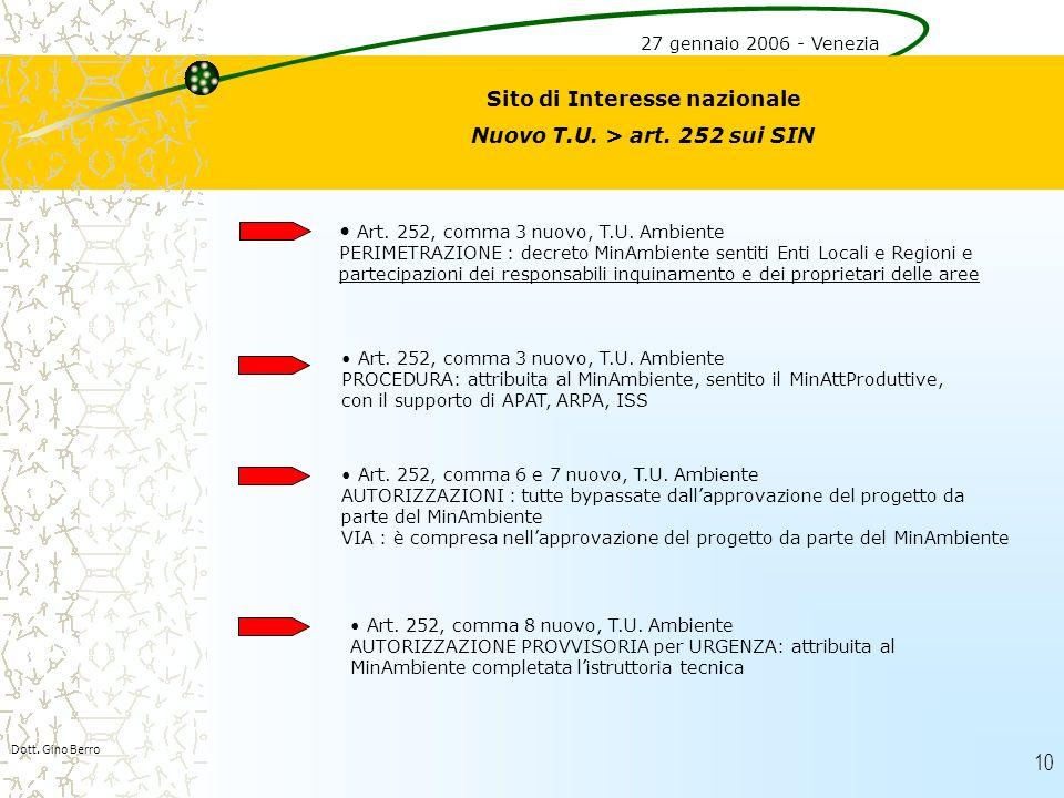 Sito di Interesse nazionale Nuovo T.U. > art. 252 sui SIN