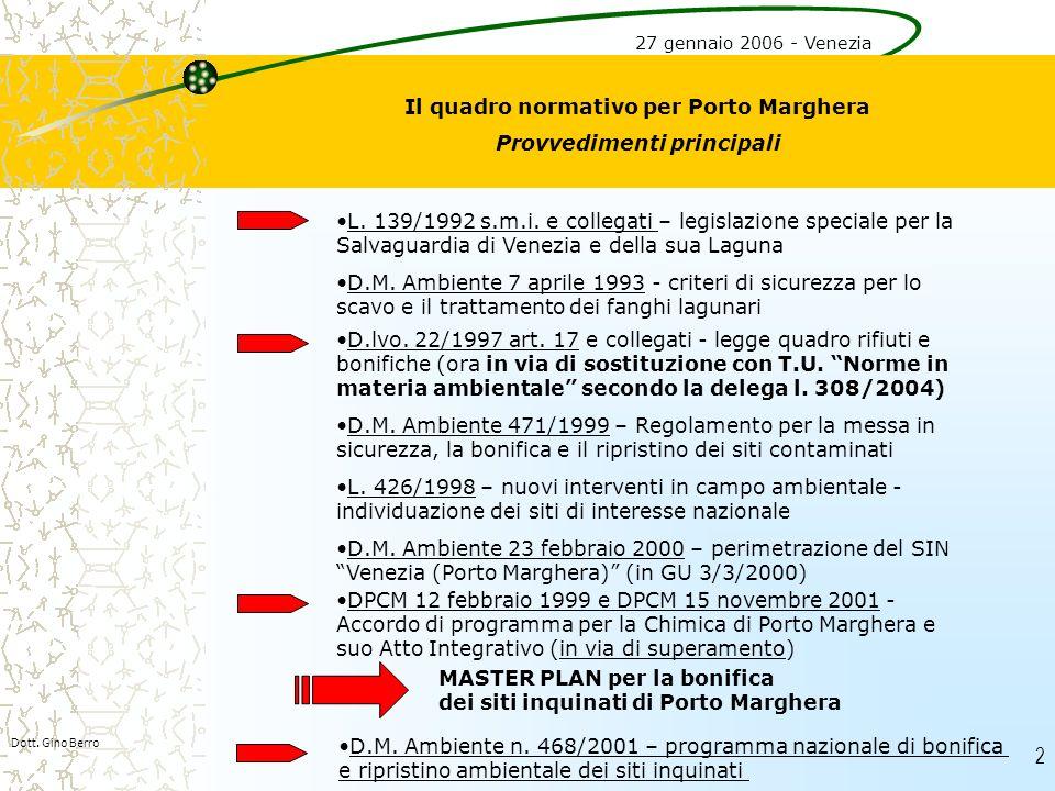 Il quadro normativo per Porto Marghera Provvedimenti principali
