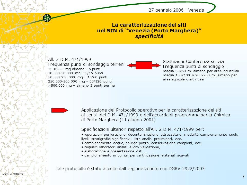 27 gennaio 2006 - Venezia La caratterizzazione dei siti nel SIN di Venezia (Porto Marghera) specificità.