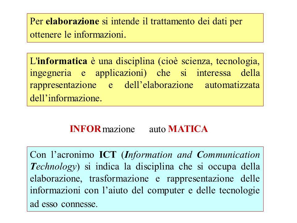 Per elaborazione si intende il trattamento dei dati per ottenere le informazioni.