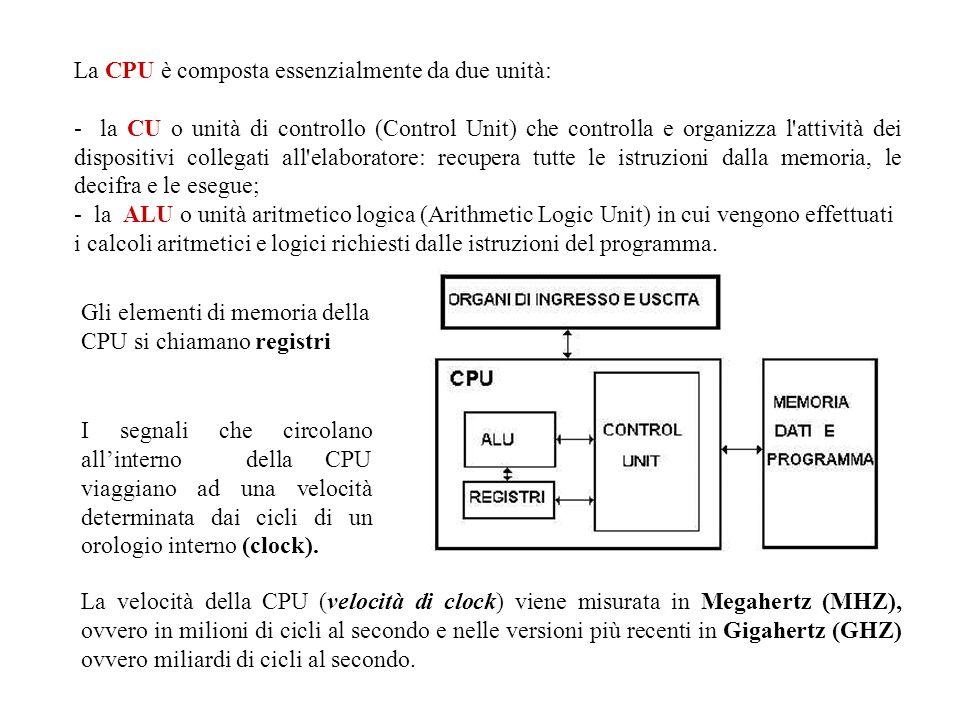 La CPU è composta essenzialmente da due unità: