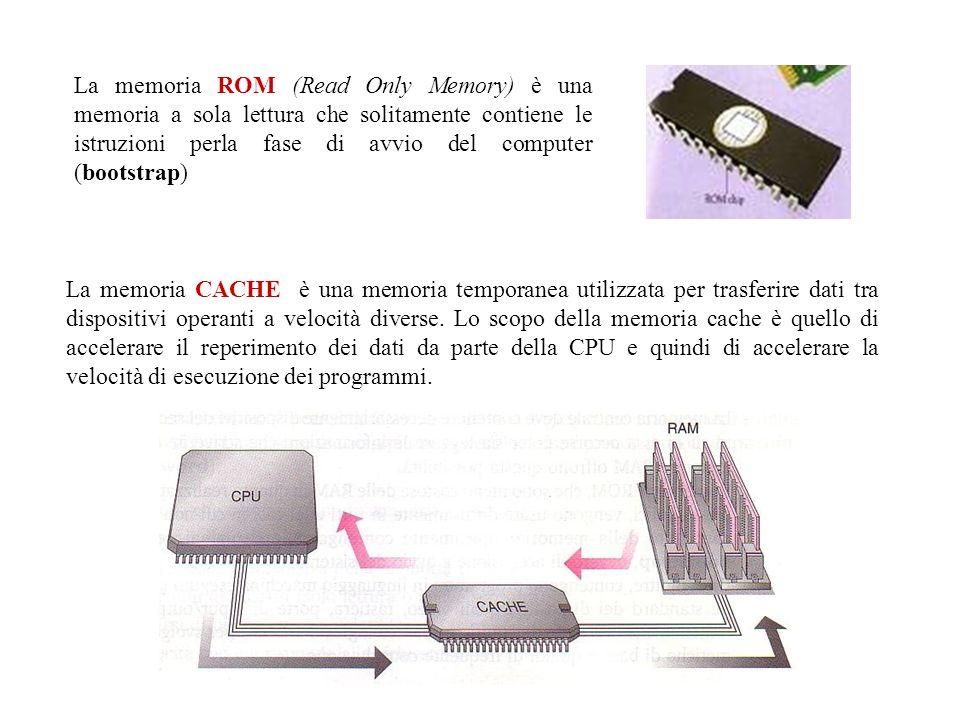 La memoria ROM (Read Only Memory) è una memoria a sola lettura che solitamente contiene le istruzioni perla fase di avvio del computer (bootstrap)