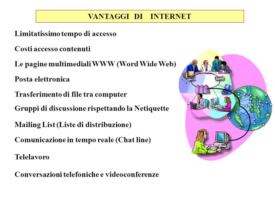 VANTAGGI DI INTERNET Limitatissimo tempo di accesso. Costi accesso contenuti. Le pagine multimediali WWW (Word Wide Web)