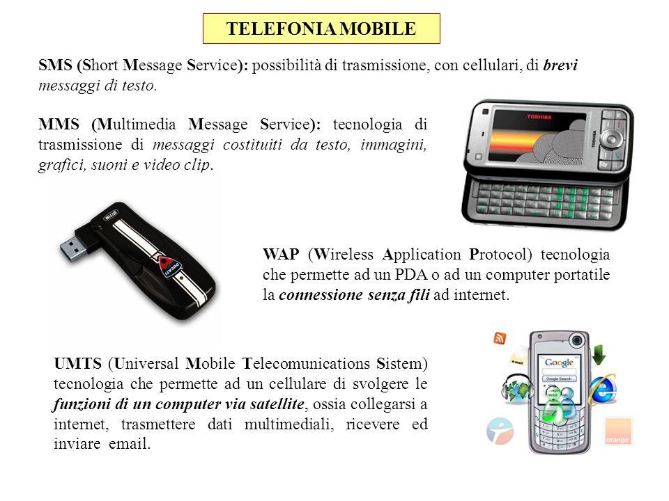 TELEFONIA MOBILE SMS (Short Message Service): possibilità di trasmissione, con cellulari, di brevi messaggi di testo.