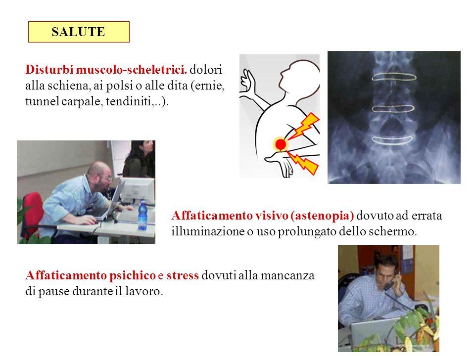 SALUTE Disturbi muscolo-scheletrici. dolori alla schiena, ai polsi o alle dita (ernie, tunnel carpale, tendiniti,..).