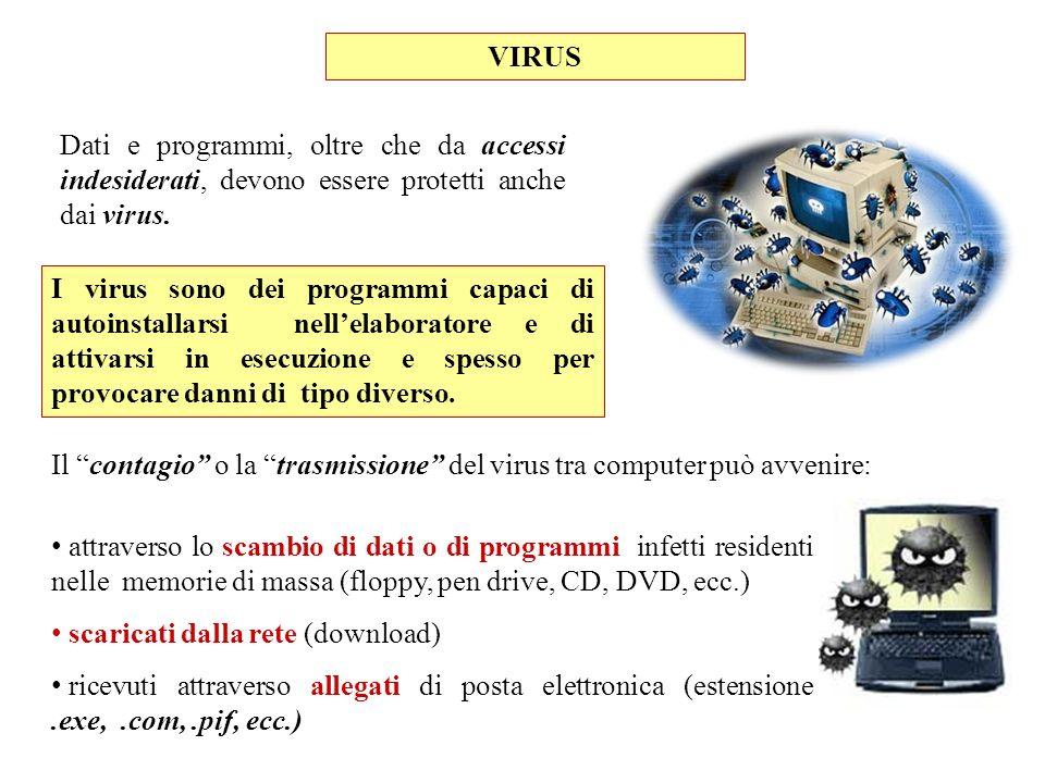 VIRUS Dati e programmi, oltre che da accessi indesiderati, devono essere protetti anche dai virus.