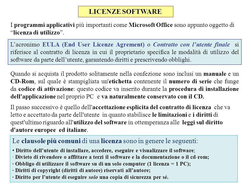 Le clausole più comuni di una licenza sono in genere le seguenti: