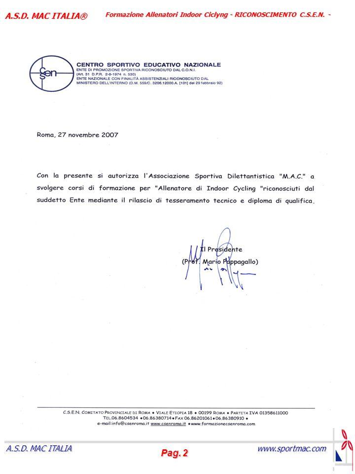 Formazione Allenatori Indoor Ciclyng - RICONOSCIMENTO C.S.E.N. -