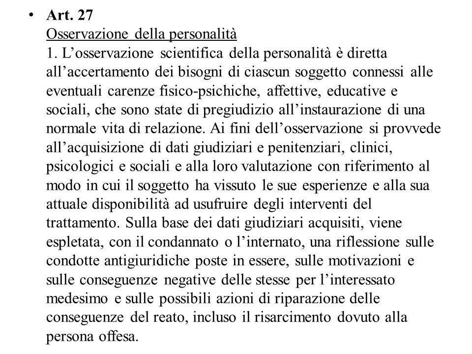 Art. 27 Osservazione della personalità 1