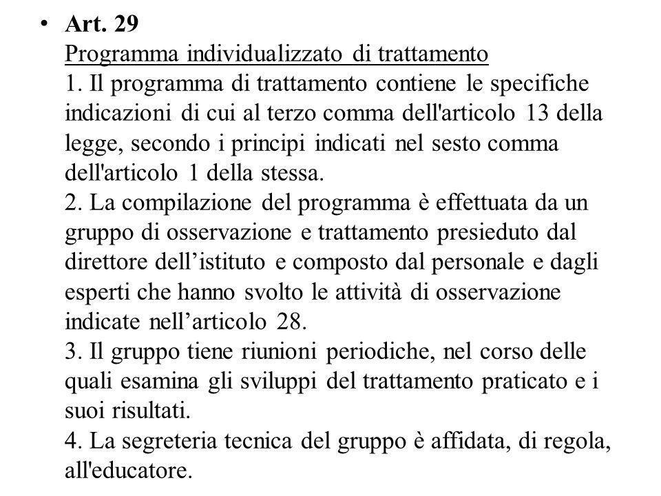 Art. 29 Programma individualizzato di trattamento 1
