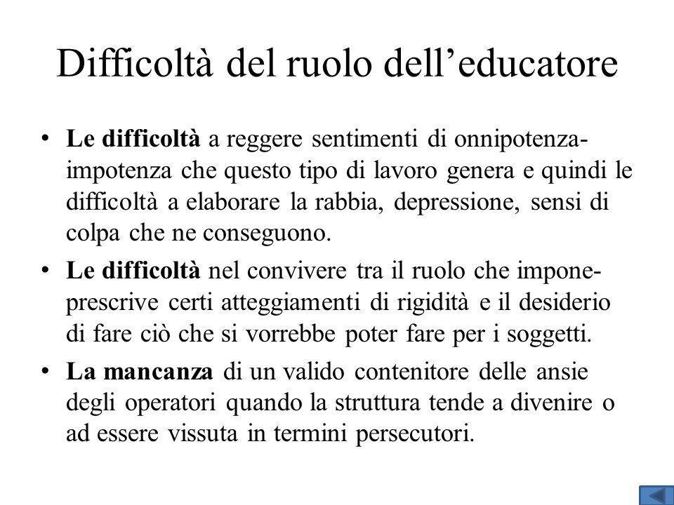 Difficoltà del ruolo dell'educatore