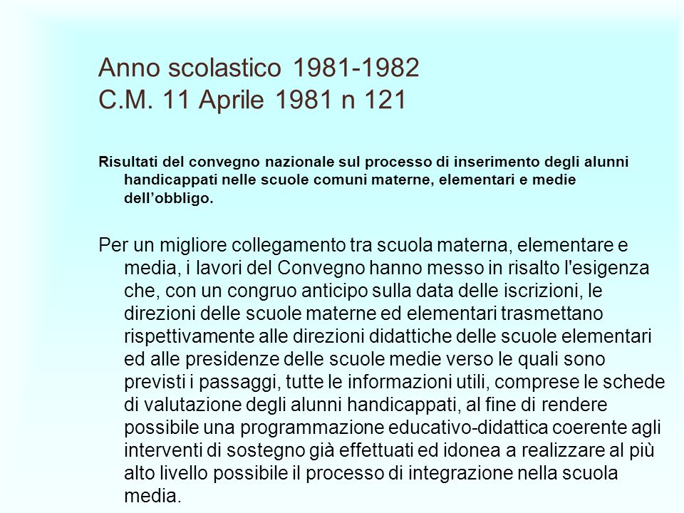 Anno scolastico 1981-1982 C.M. 11 Aprile 1981 n 121
