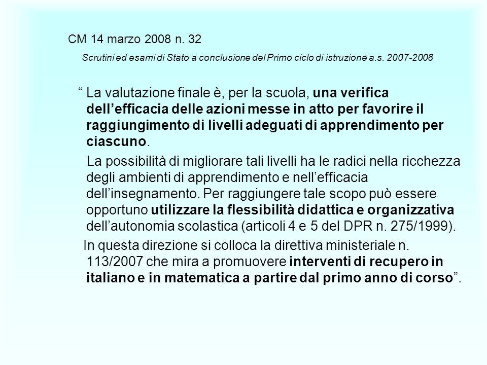 CM 14 marzo 2008 n. 32 Scrutini ed esami di Stato a conclusione del Primo ciclo di istruzione a.s. 2007-2008.