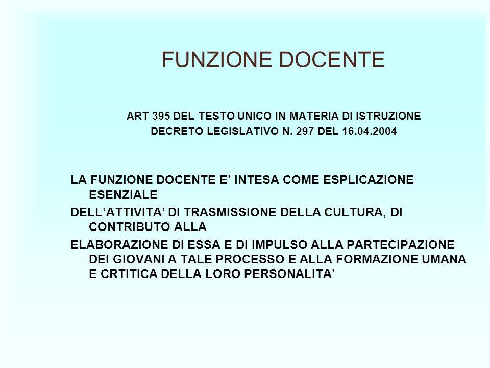 FUNZIONE DOCENTE ART 395 DEL TESTO UNICO IN MATERIA DI ISTRUZIONE. DECRETO LEGISLATIVO N. 297 DEL 16.04.2004.