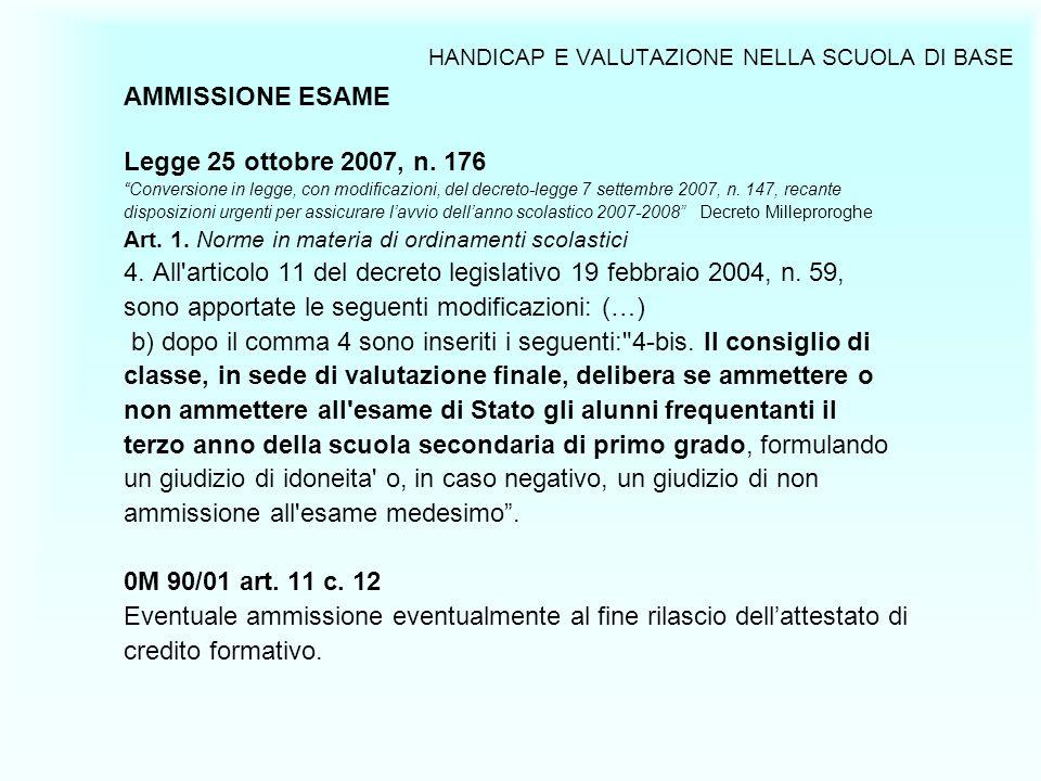 HANDICAP E VALUTAZIONE NELLA SCUOLA DI BASE