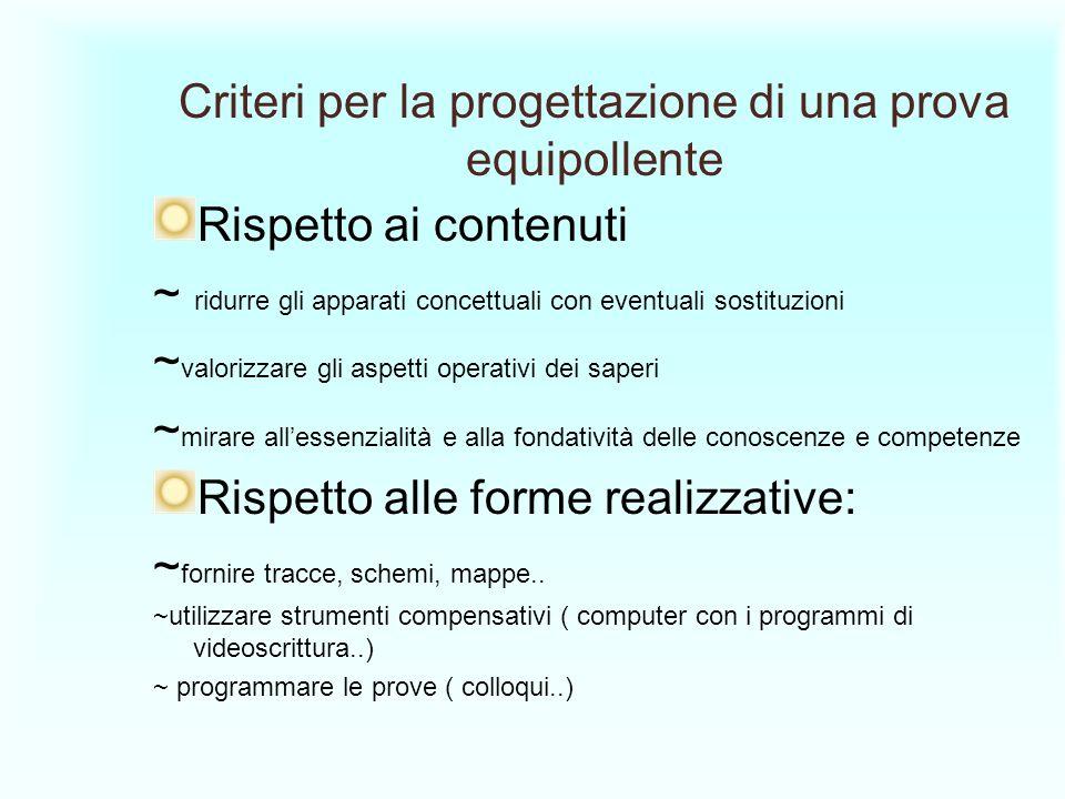 Criteri per la progettazione di una prova equipollente