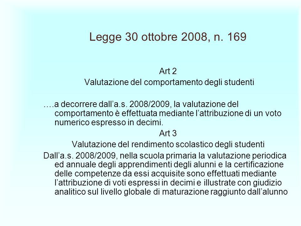 Legge 30 ottobre 2008, n. 169 Art 2. Valutazione del comportamento degli studenti.