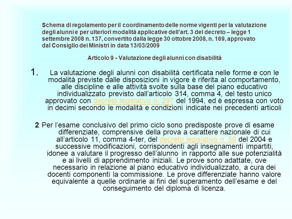 Articolo 9 - Valutazione degli alunni con disabilità