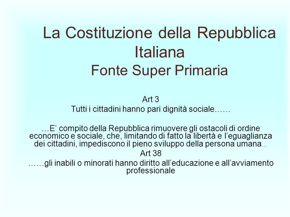 La Costituzione della Repubblica Italiana Fonte Super Primaria