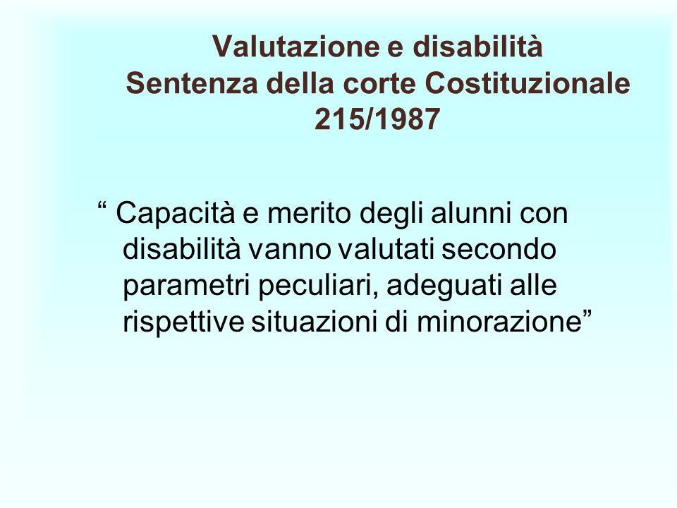 Valutazione e disabilità Sentenza della corte Costituzionale 215/1987