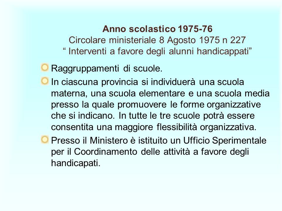 Anno scolastico 1975-76 Circolare ministeriale 8 Agosto 1975 n 227 Interventi a favore degli alunni handicappati