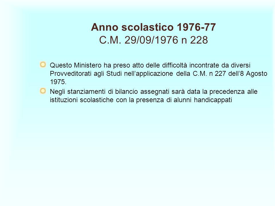 Anno scolastico 1976-77 C.M. 29/09/1976 n 228