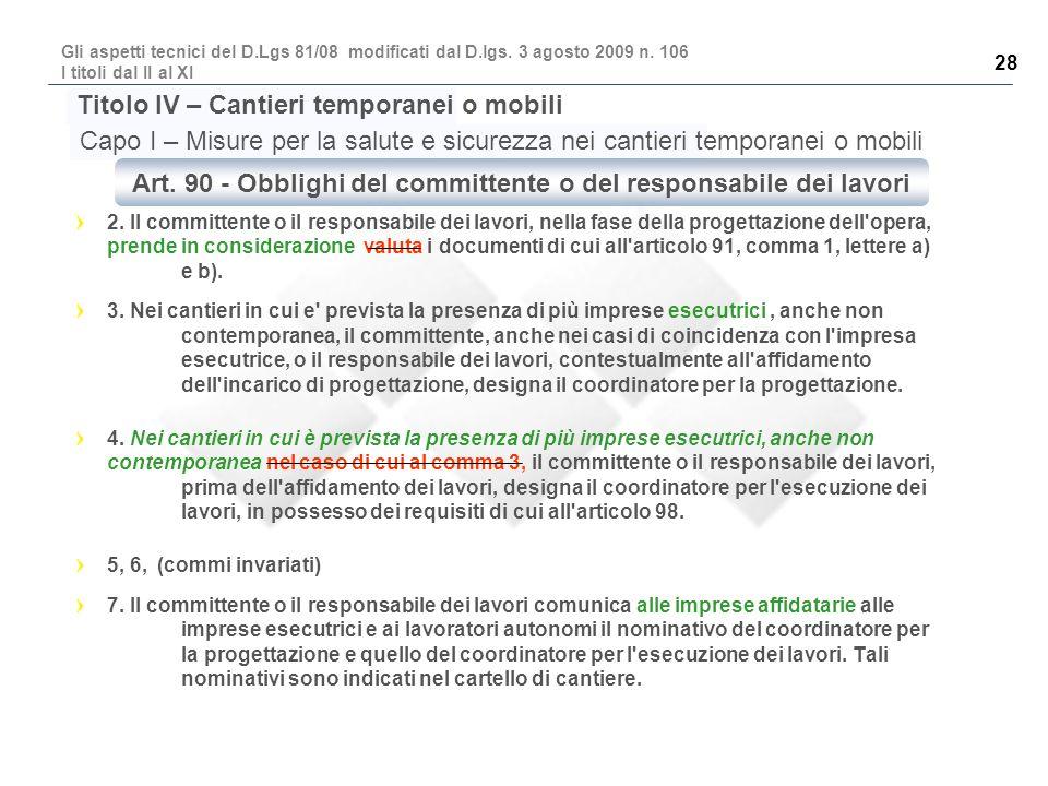 Art. 90 - Obblighi del committente o del responsabile dei lavori