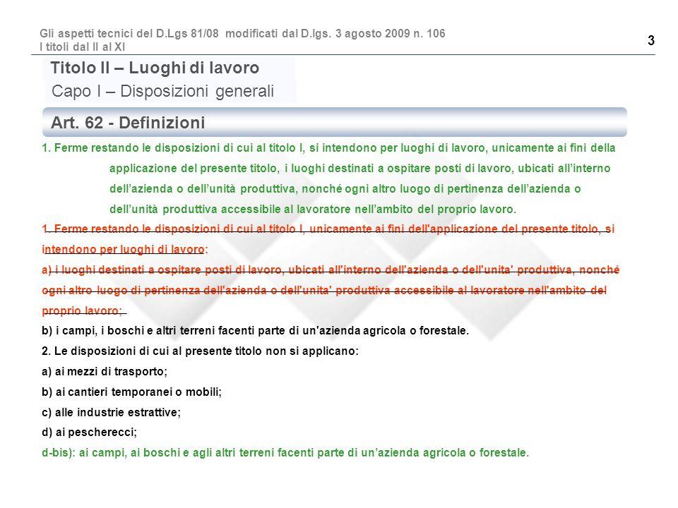 Titolo II – Luoghi di lavoro Capo I – Disposizioni generali