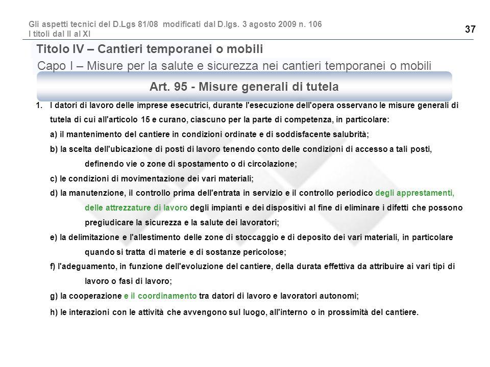 Art. 95 - Misure generali di tutela