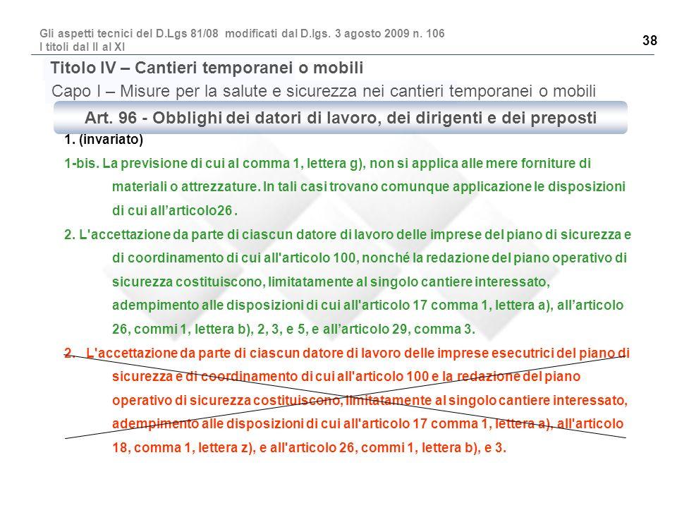 Art. 96 - Obblighi dei datori di lavoro, dei dirigenti e dei preposti