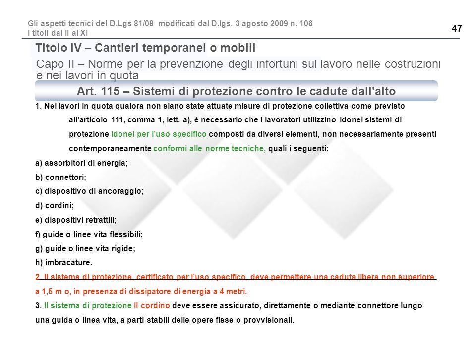 Art. 115 – Sistemi di protezione contro le cadute dall alto