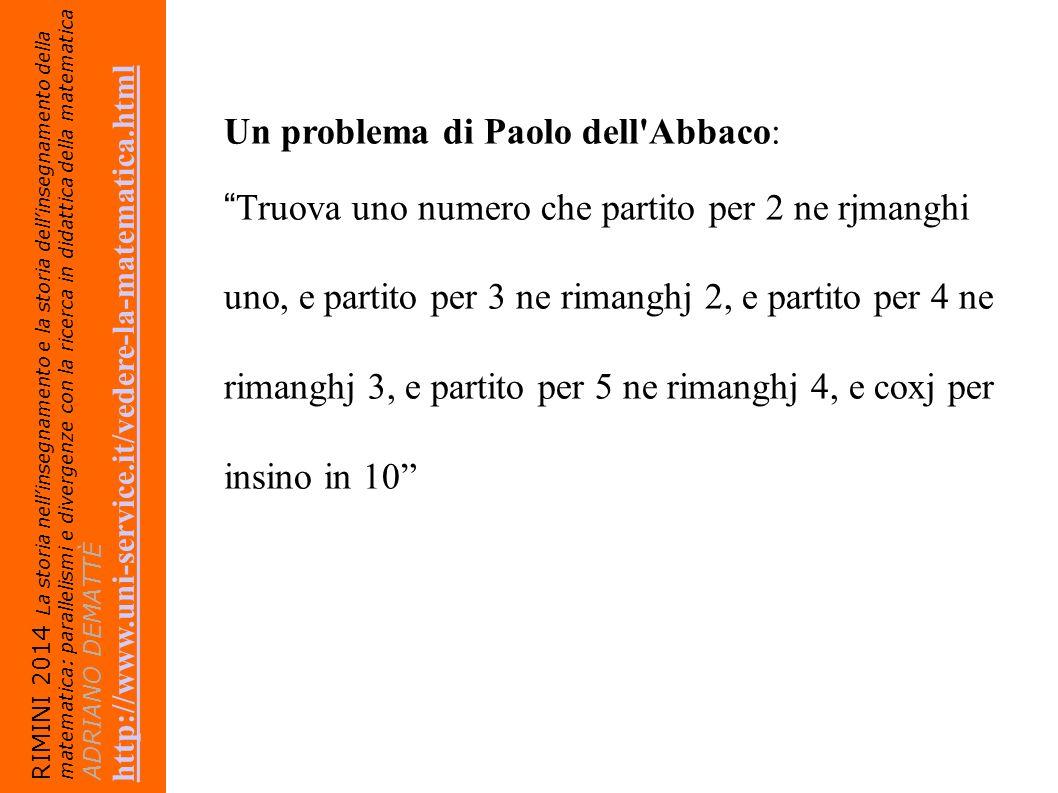 Un problema di Paolo dell Abbaco: