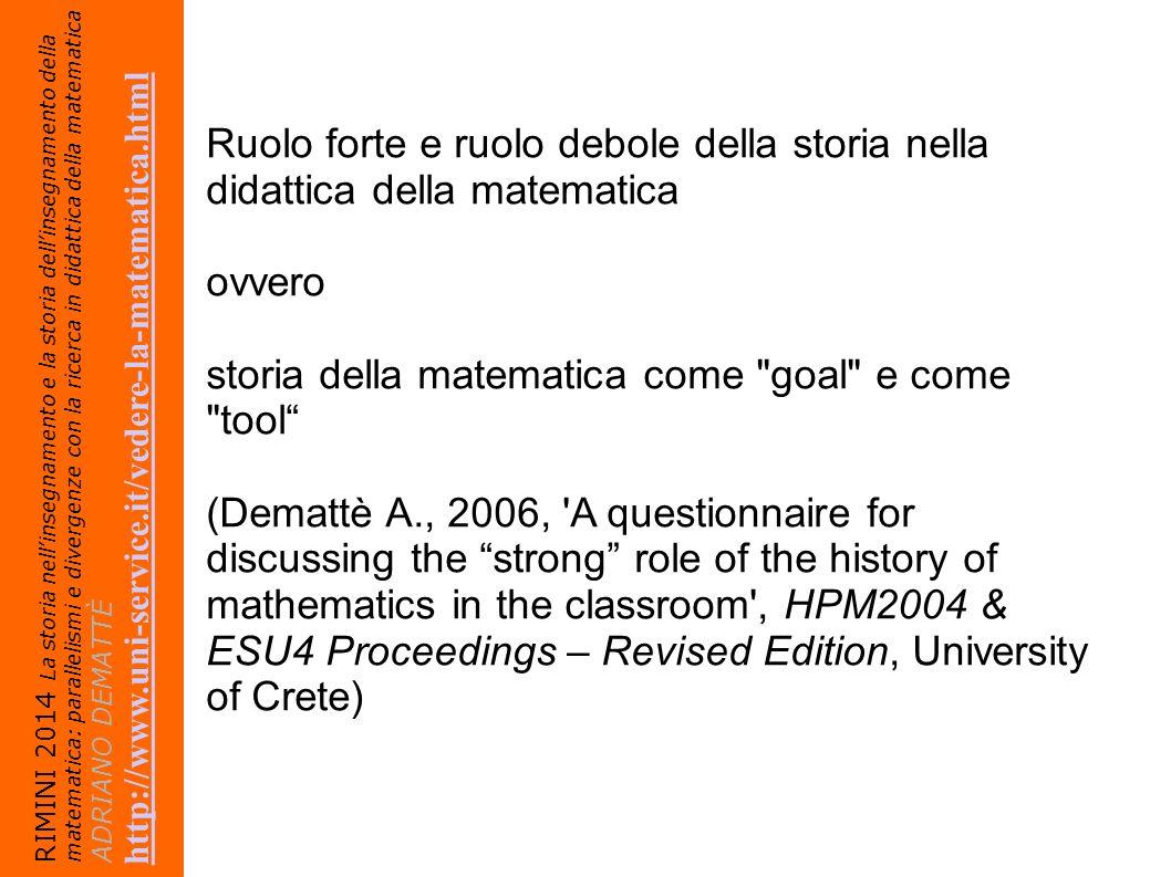 storia della matematica come goal e come tool