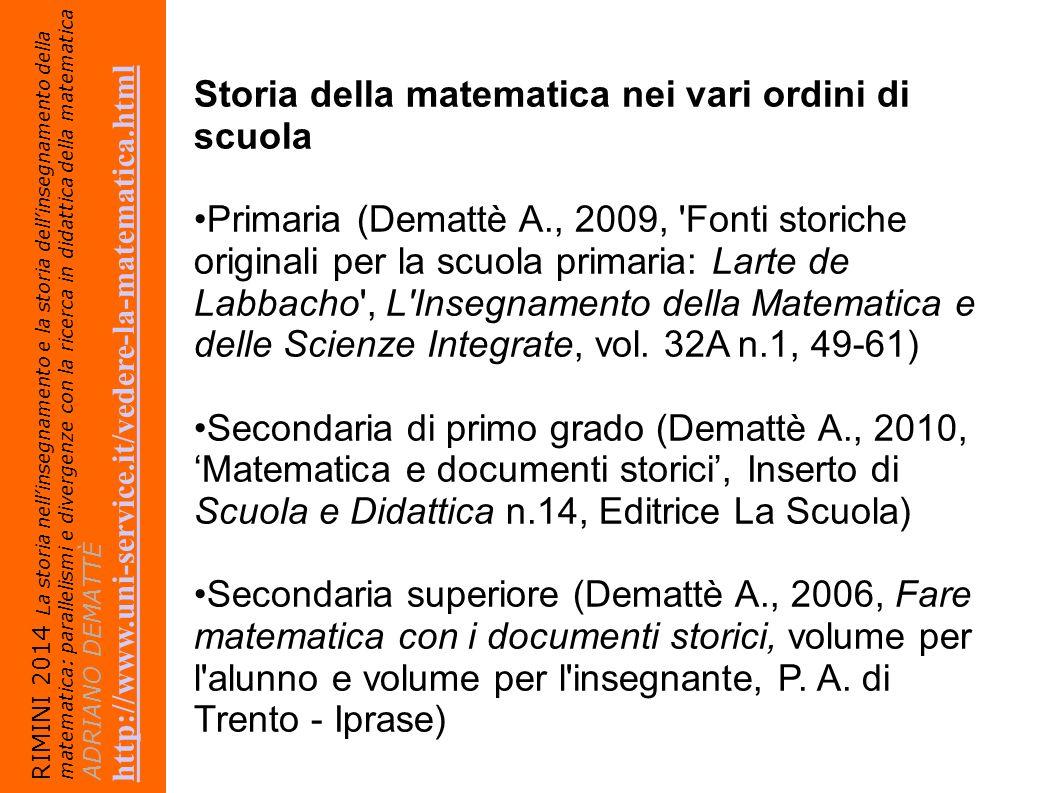 Storia della matematica nei vari ordini di scuola
