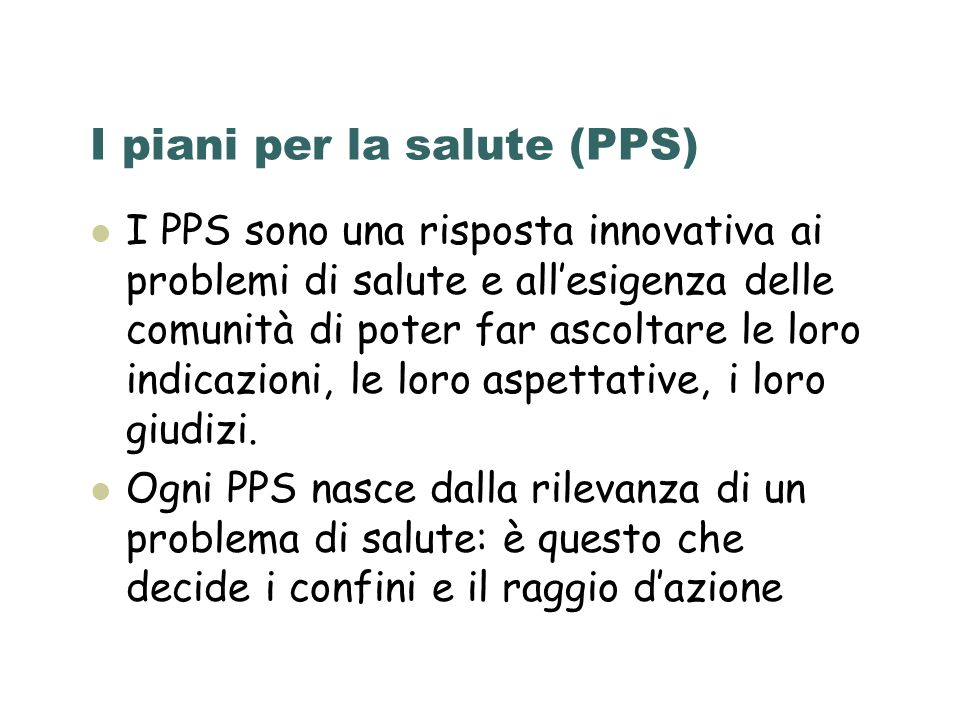 I piani per la salute (PPS)