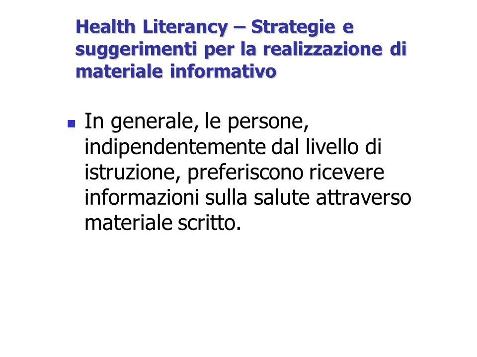Health Literancy – Strategie e suggerimenti per la realizzazione di materiale informativo