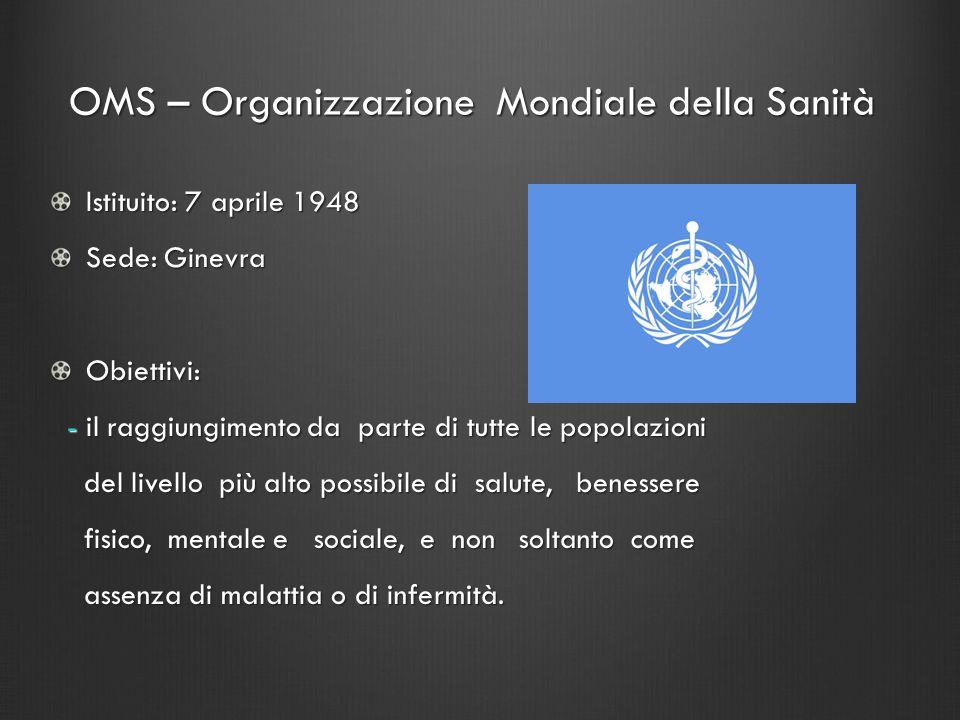 OMS – Organizzazione Mondiale della Sanità