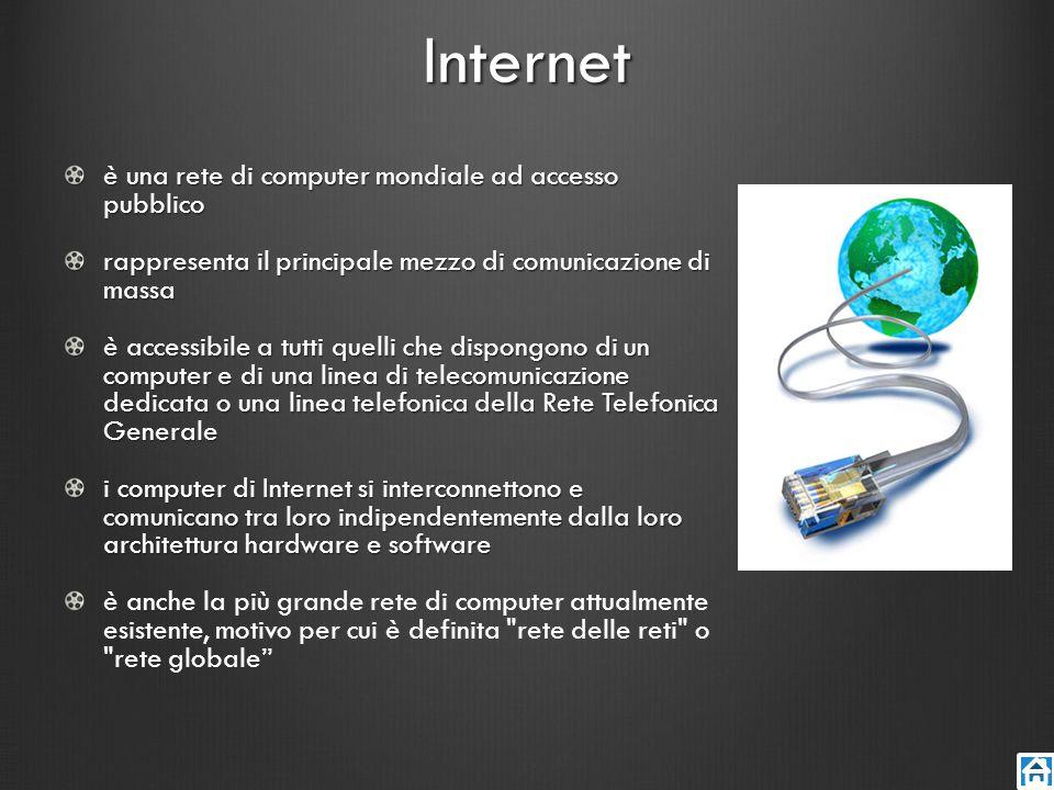 Internet è una rete di computer mondiale ad accesso pubblico