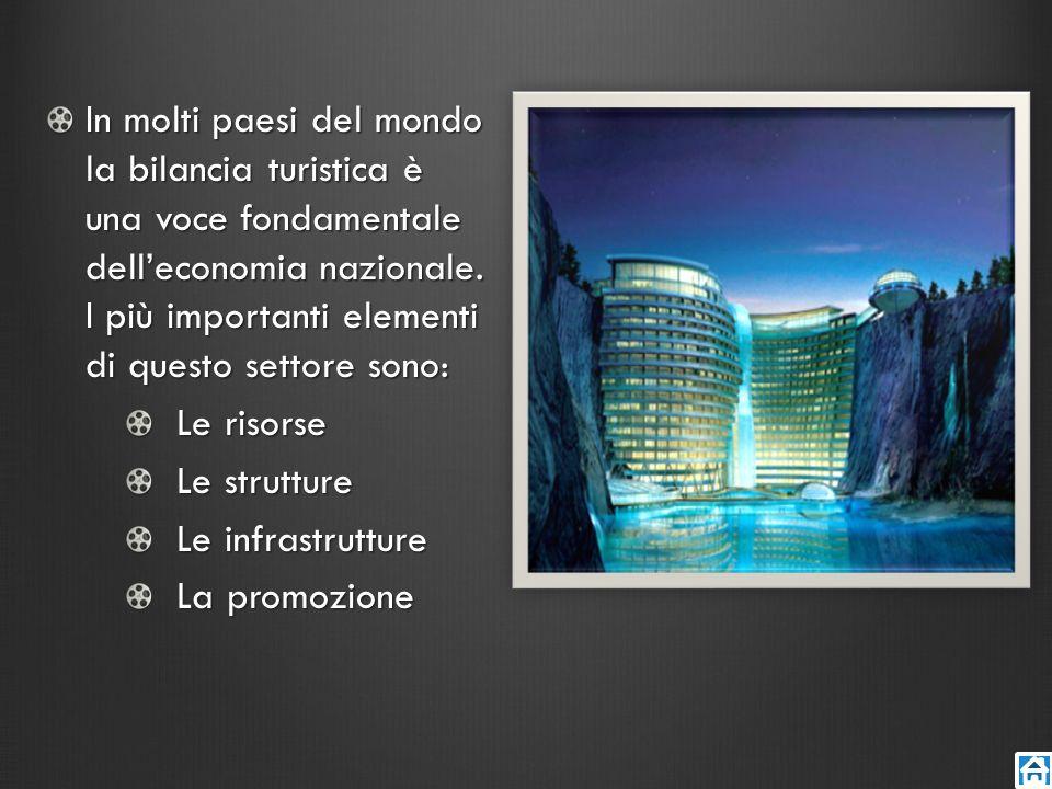 In molti paesi del mondo la bilancia turistica è una voce fondamentale dell'economia nazionale. I più importanti elementi di questo settore sono: