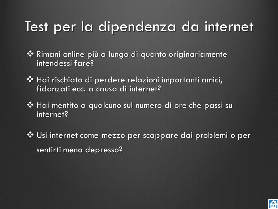 Test per la dipendenza da internet