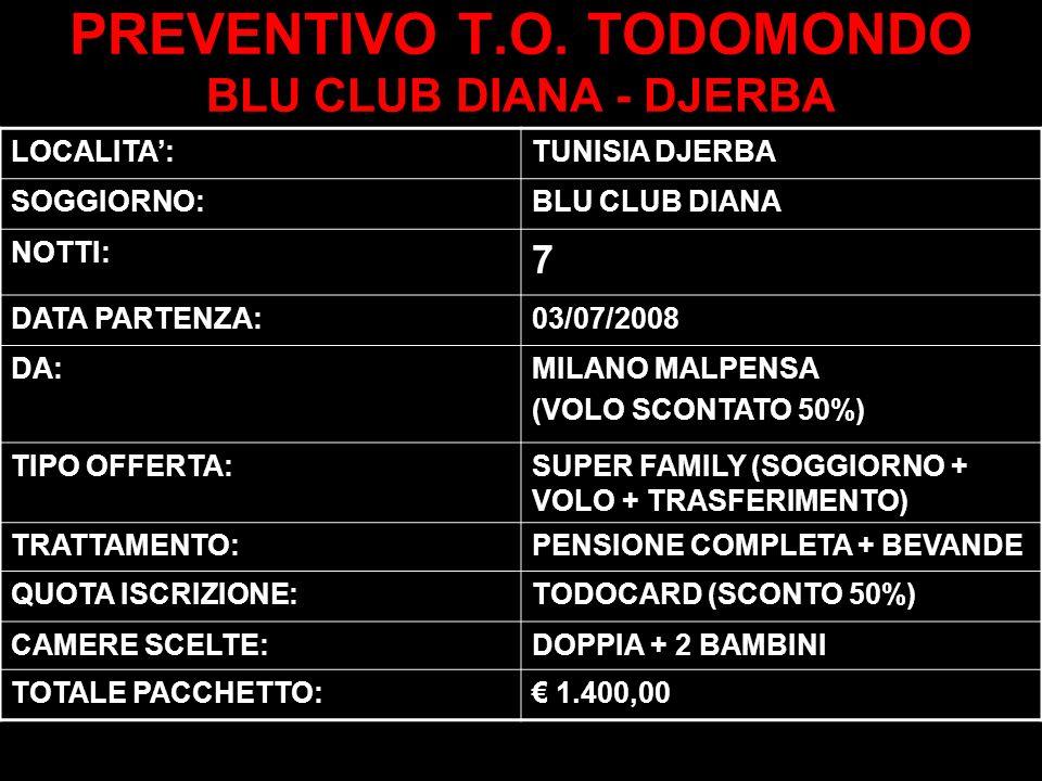 PREVENTIVO T.O. TODOMONDO BLU CLUB DIANA - DJERBA