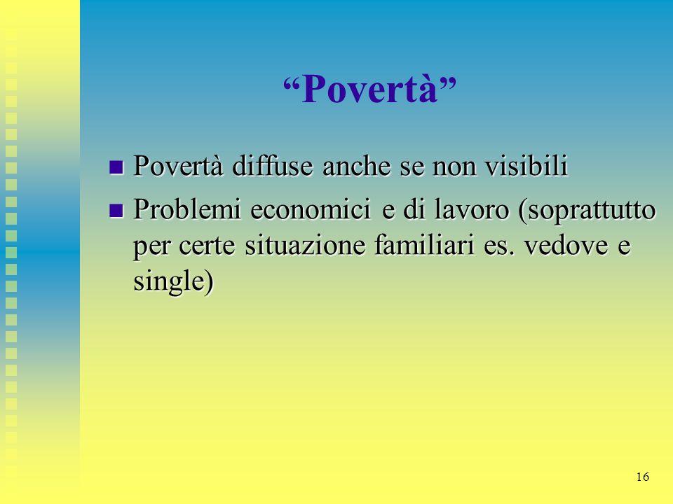 Povertà Povertà diffuse anche se non visibili