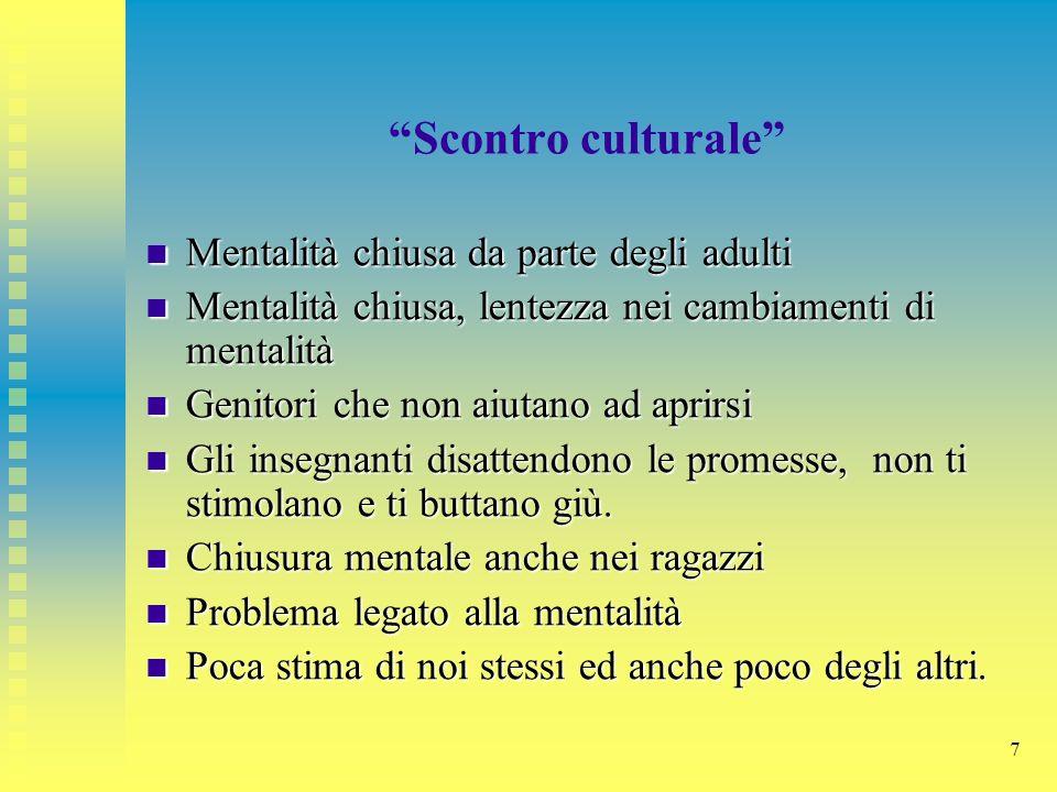 Scontro culturale Mentalità chiusa da parte degli adulti