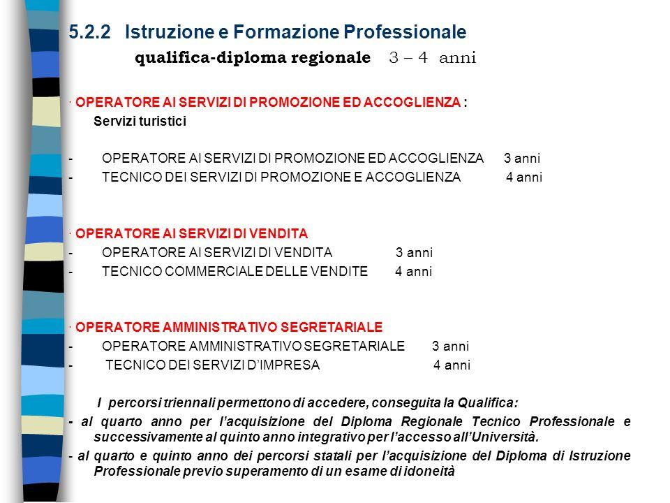 5.2.2 Istruzione e Formazione Professionale