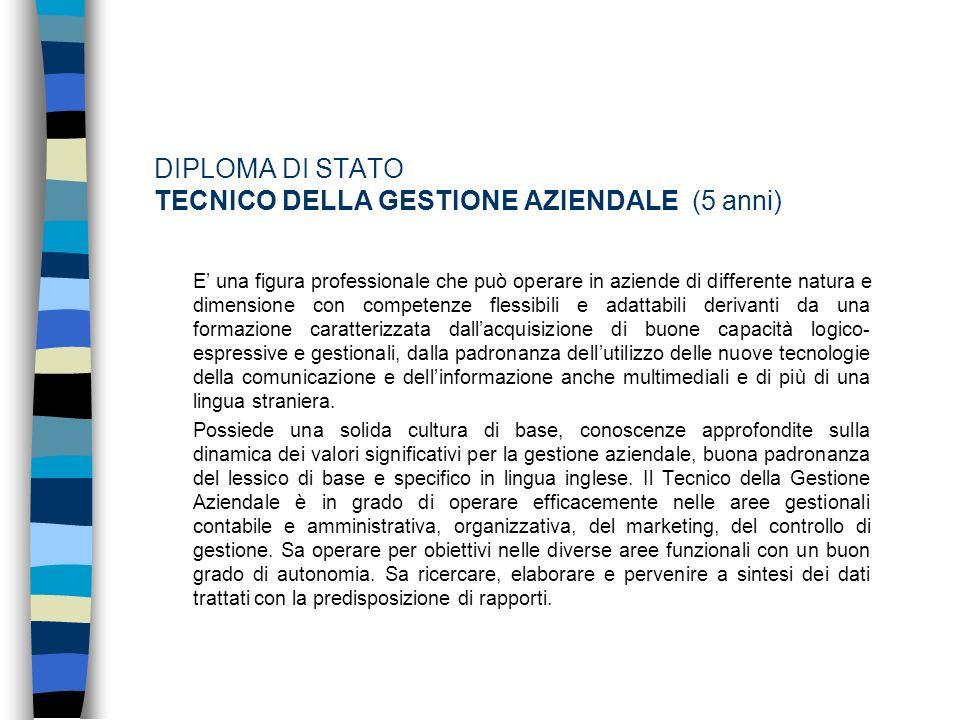 DIPLOMA DI STATO TECNICO DELLA GESTIONE AZIENDALE (5 anni)