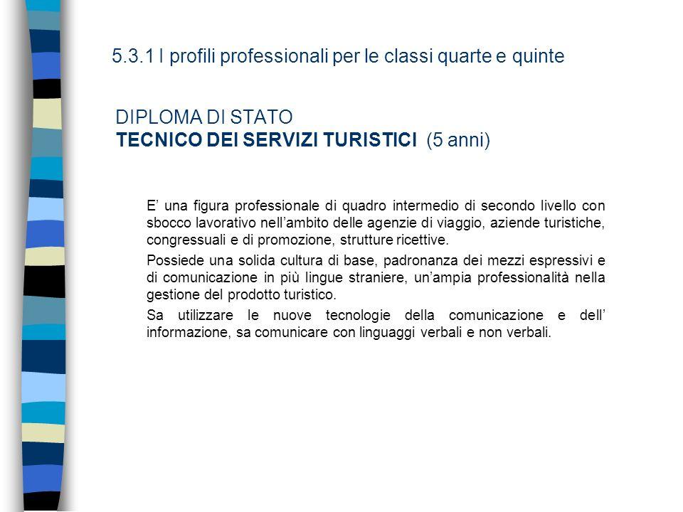 DIPLOMA DI STATO TECNICO DEI SERVIZI TURISTICI (5 anni)