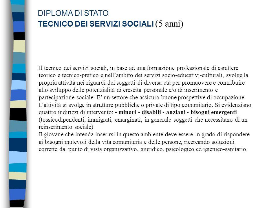 DIPLOMA DI STATO TECNICO DEI SERVIZI SOCIALI (5 anni)