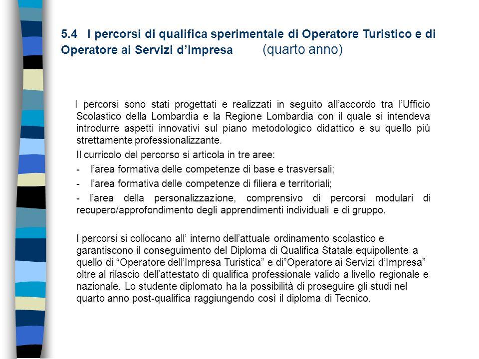 5.4 I percorsi di qualifica sperimentale di Operatore Turistico e di Operatore ai Servizi d'Impresa (quarto anno)